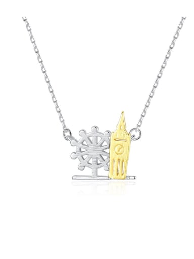 925 sterling silver simple personalized building, necklace
