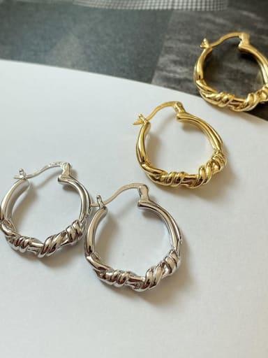 925 Sterling Silver Irregular Minimalist Hoop Earring