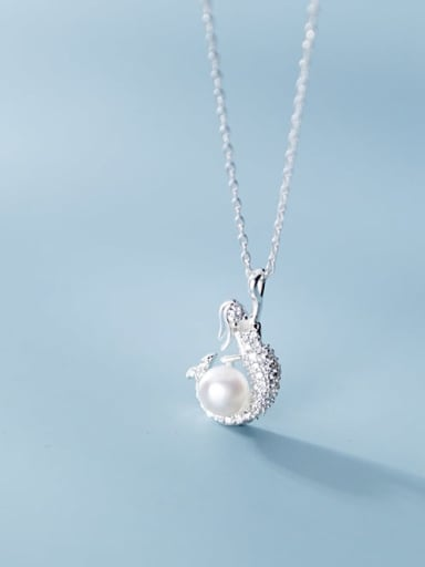 925 Sterling Silver Imitation Pearl Fish Minimalist Necklace