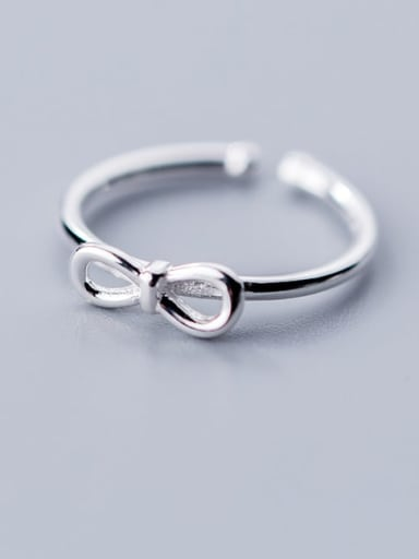 925 Sterling Silver Bowknot Minimalist Free Size Ring