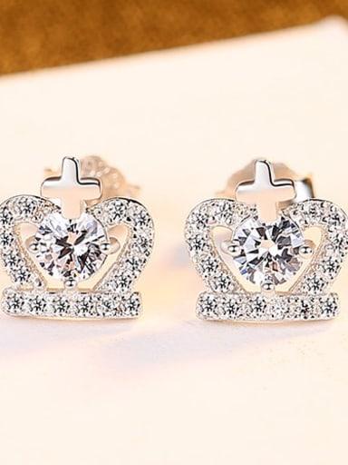 Platinum 24g04 925 Sterling Silver Cubic Zirconia Purple Crown Cute Stud Earring