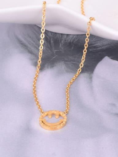 Golden Necklace Titanium  Hollow Smiley Minimalist Choker Necklace