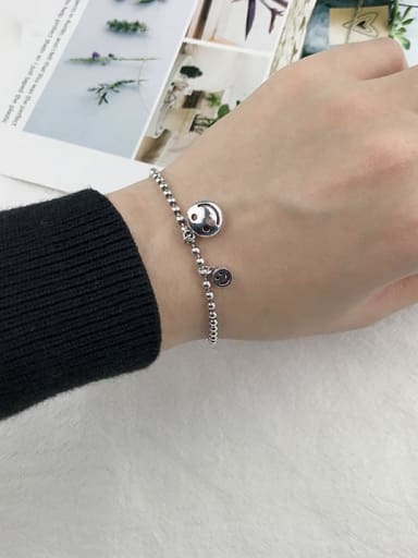 B section (SL121) Vintage Sterling Silver With Antique Silver Plated Retro Smiley Bracelets