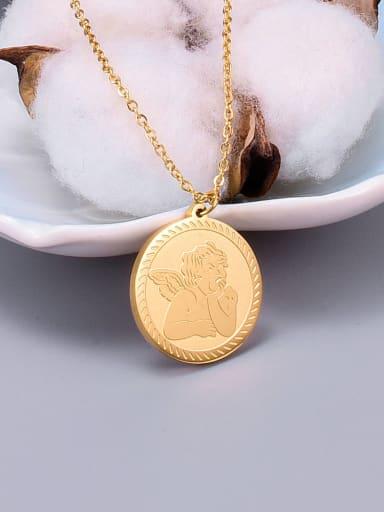 Golden Titanium  Cupid Angel Necklace