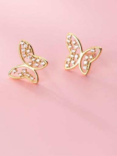 925 Sterling Silver Rhinestone Butterfly Minimalist Stud Earring