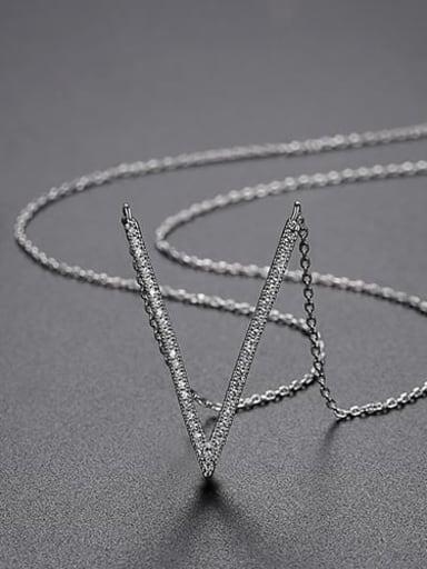 Platinum-t11i03 Copper Cubic Zirconia White Irregular Minimalist Lariat Necklace