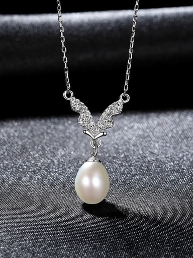 White 7a01 925 Sterling Silver Imitation Pearl Butterfly Minimalist Necklace