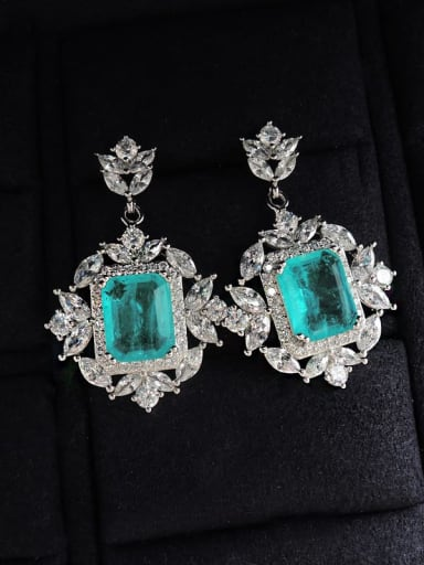 Eardrop Brass Cubic Zirconia Luxury Flower Earring Ring and Necklace Set