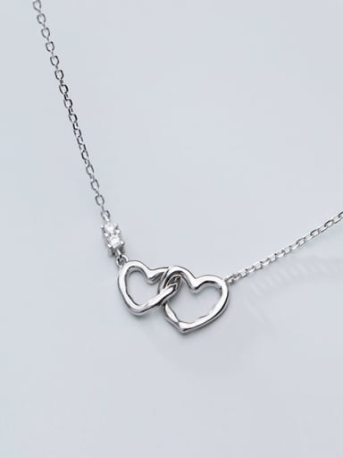 925 Sterling Silver Minimalist  Hollow  Heart Necklace