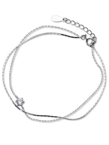925 Sterling Silver Rhinestone Round Minimalist Strand Bracelet