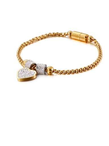 gold Titanium Cubic Zirconia White Heart Minimalist Adjustable Bracelet