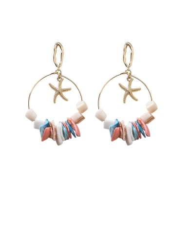 B oval Zinc Alloy Shell Multi Color Heart Bohemia Chandelier Earring
