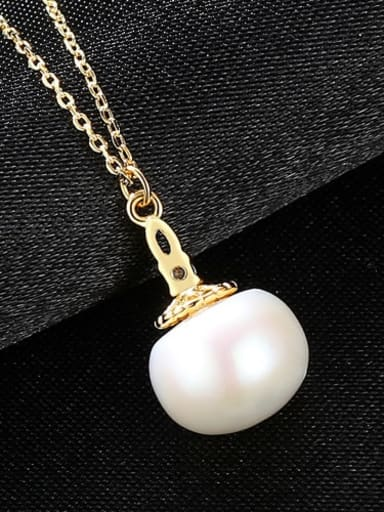 White 6G02 925 Sterling Silver Freshwater Pearl Pendant Necklace