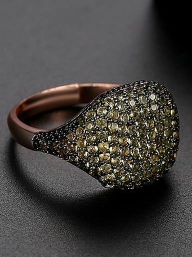 Yellow Copper Rhinestone Full Diamond Geometric Minimalist Free Size Band Ring