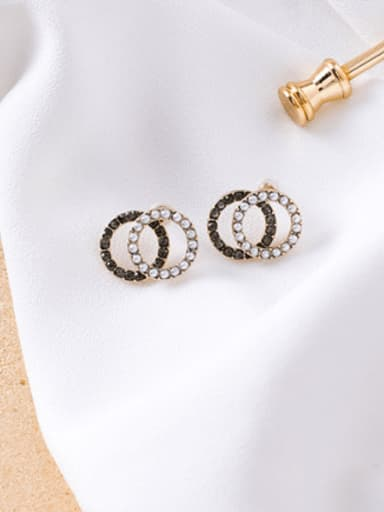 B Black  Diamond (Ring Type) Alloy With Imitation Gold Plated Simplistic Hollow Geometric Stud Earrings