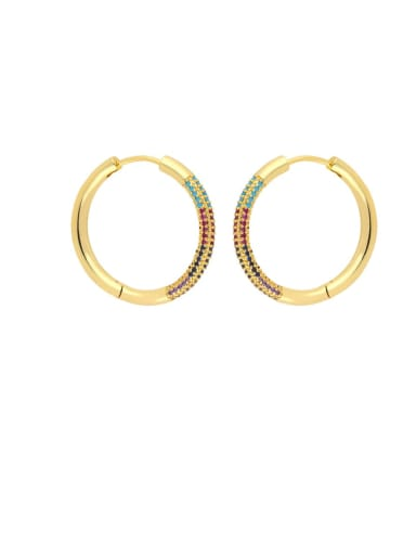 Color zirconium Brass Cubic Zirconia Geometric Vintage Hoop Earring