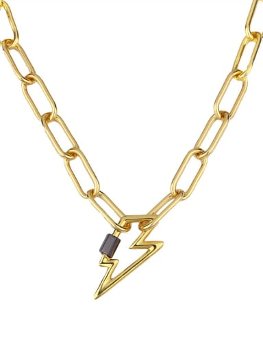 lightning Titanium Irregular Vintage Hollow heart geometry pendant Necklace