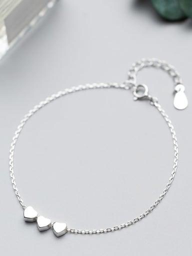 925 Sterling Silver Smooth Heart Minimalist Link Bracelet