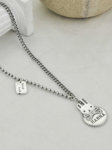 Vintage Sterling Silver With Platinum Plated Simplistic Rabbit Power Necklaces