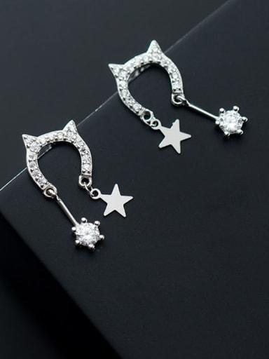 925 Sterling Silver Cubic Zirconia Cat Minimalist Drop Earring