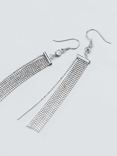 925 Sterling Silver Bead Tassel Vintage Threader Earring