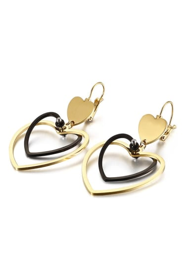 Golden black Stainless Steel Hollow  Heart Minimalist Hook Earring