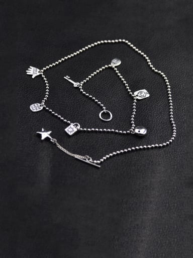 Vintage Sterling Silver With Retro Old five Star Smiley Necklaces