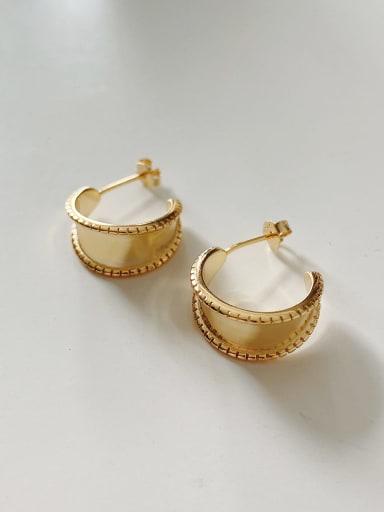 925 Sterling Silver Irregular Minimalist  Gold Wide Face Drop Earring