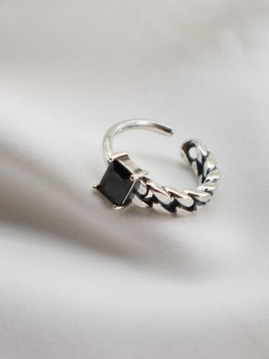 925 Sterling Silver Geometric Vintage Chain Free Size Midi Ring