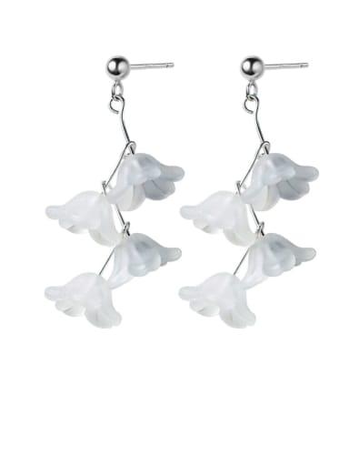 925 Sterling Silver Resin White Flower Trend Drop Earring