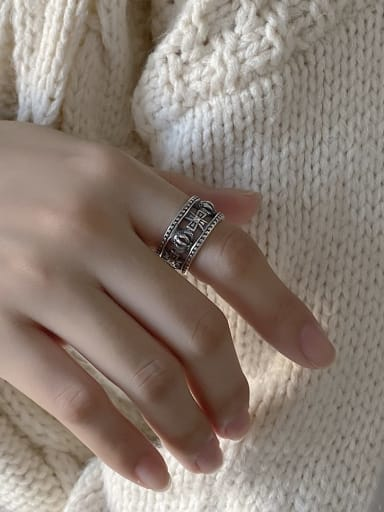925 Sterling Silver Crown  Cross Vintage Free Size Band Ring