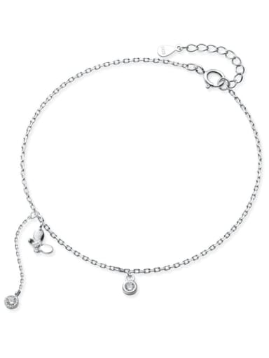 925 Sterling Silver  Minimalist Shell   Butterfly Anklet