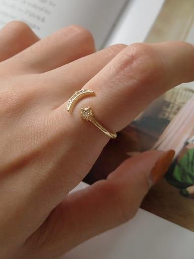 925 Sterling Silver Cubic Zirconia Minimalist Moon  Midi Ring