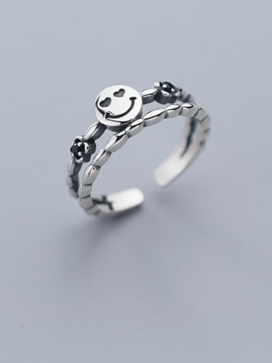 925 Sterling Silver  Vintage  double smile Stackable Ring