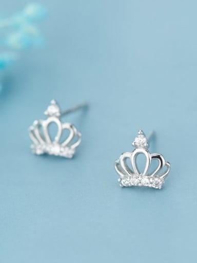 925 Sterling Silver Rhinestone White Crown Cute Stud Earring