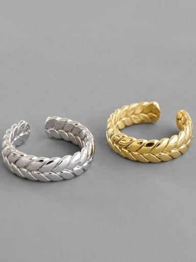 925 Sterling Silver Irregular Weave  Minimalist Free Size Band Ring