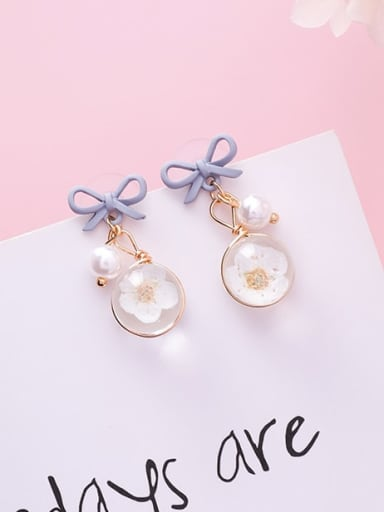 B blue bow Zinc Alloy Imitation Pearl Multi Color Enamel Bowknot Cute Drop Earring