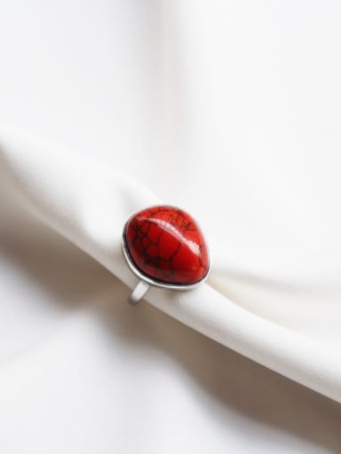 925 Sterling Silver Ruby Red Water Drop Minimalist Free Size Band Ring