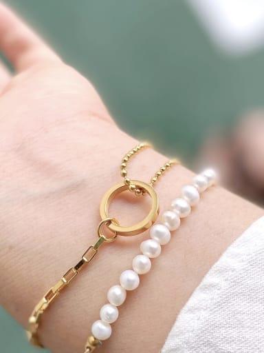 Titanium Imitation Pearl Geometric Minimalist Bracelet