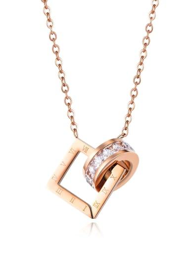 Titanium Rhinestone Geometric Minimalist Necklace