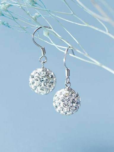 925 sterling silver fashion style micro set with diamond Ball Earrings