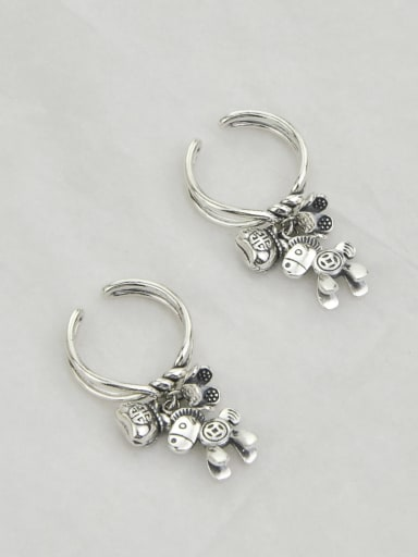 Vintage Sterling Silver With  Personality Horse Flowers DIY Free Size Rings