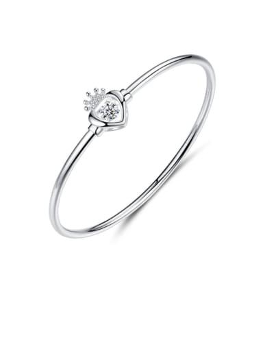 925 Sterling Silver Cubic Zirconia Simple fashion crown heart Bracelet
