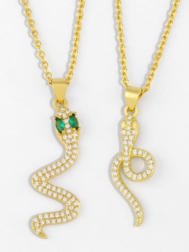 Brass Cubic Zirconia Snake Ethnic Necklace