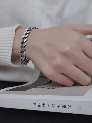 long(About 20cm) Vintage Sterling Silver With Simple Retro Chain Couple Bracelet  Bracelets