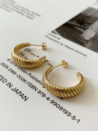 925 Sterling Silver Vintage Curved Twist Single Earring