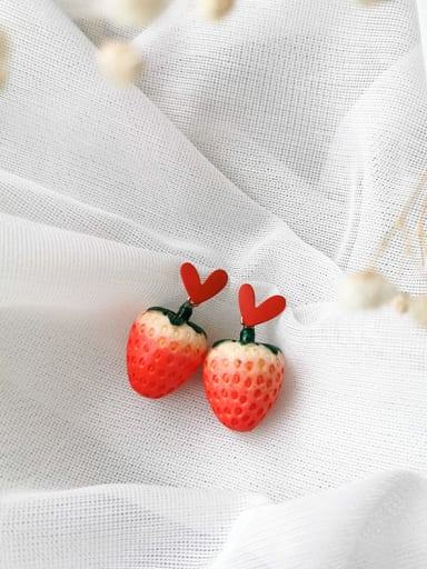 Brass Red Enamel Friut Minimalist Strawberry Stud Earring