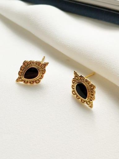 925 Sterling Silver Black Enamel Geometric Vintage Stud Earring