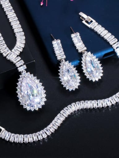 Necklaces+ earrings +bracelets Copper Cubic Zirconia Luxury Geometric  Earring Braclete and Necklace Set