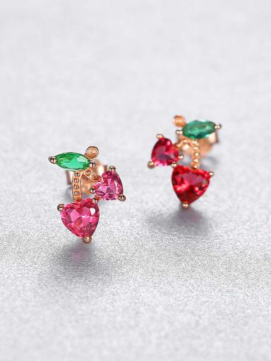 18K gold 23B03 925 Sterling Silver Cubic Zirconia Flower Luxury Stud Earring